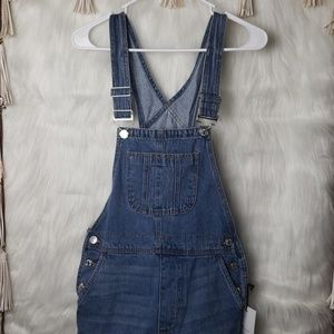 NEW Forever 21 Distressed Blue Jean Overalls
